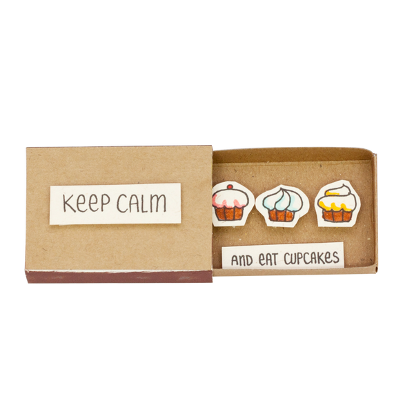 "OT053 - ""Keep Calm and Eat Cupcakes"" Matchbox"