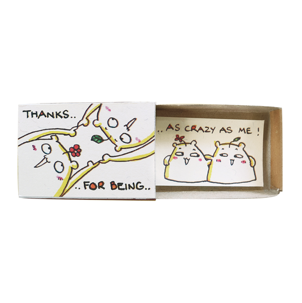 "OT095 - Cute Card, Witty Friendship Card, ""Thanks for being as crazy as me"" Matchbox Card"