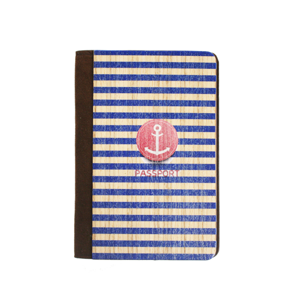 PC018 - Handmade Wooden Passport cover - Anchor Stripe Navy