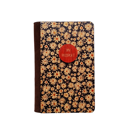 PC032 - Handmade Wooden Passport Cover - Floral Daisy Blue/ Custom Fashionable Handmade Wooden Cover
