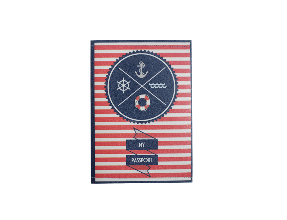 PP029 - Slim Passport Cover - Red Stripe Anchor