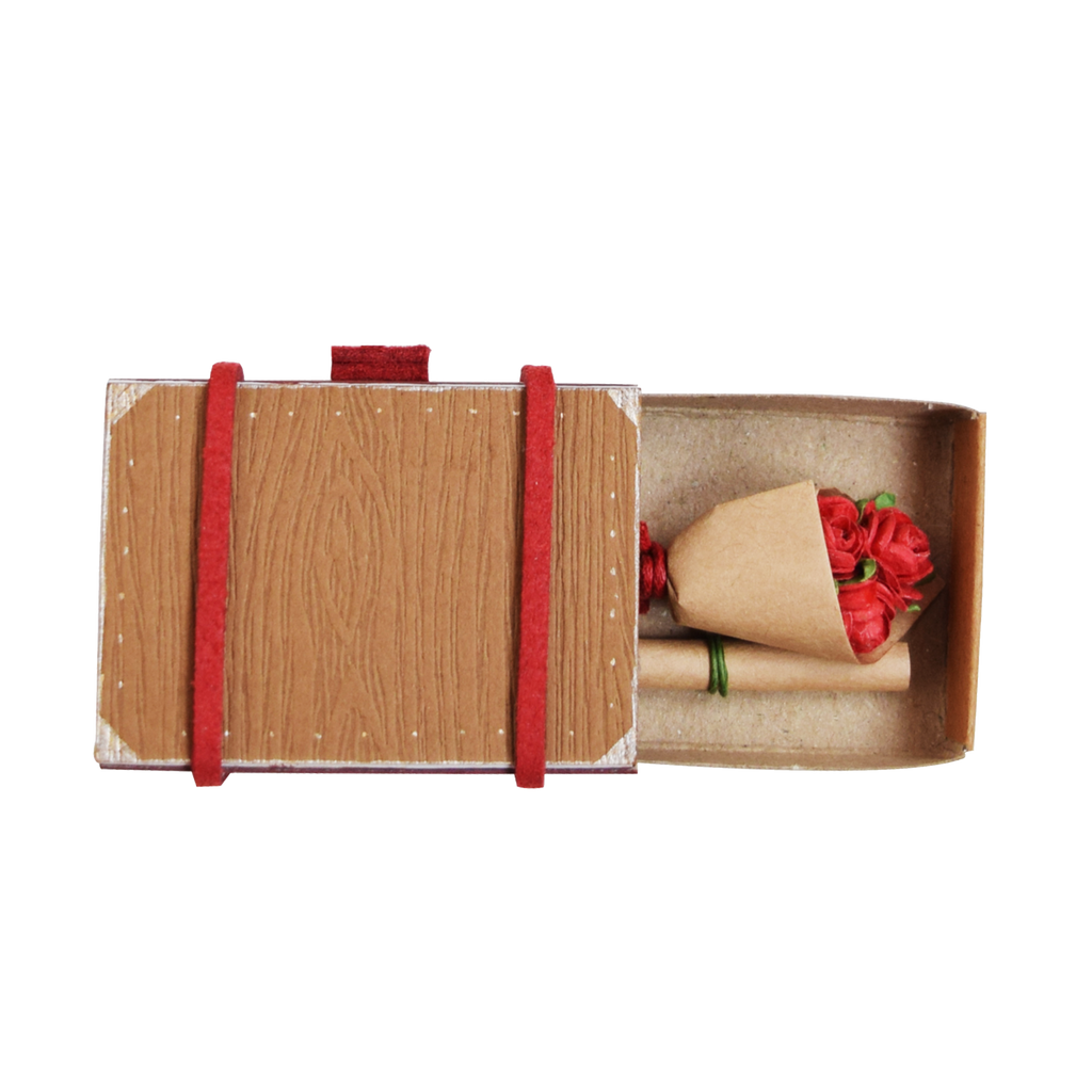 SC003 - Mini suitcase with Bouquet of Roses/  Light Brown