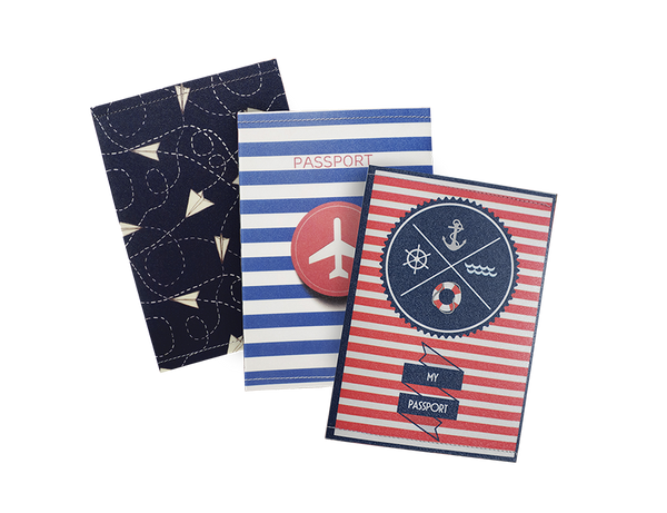 SE302 - Set of 3 Slim Passport Covers, Airplanes Passport Holders, Stripe Passport Cases