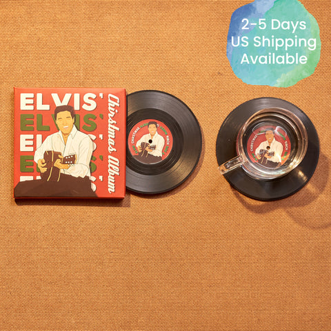 Vinyl Record Coasters, Set of 2, Bing Crosby's White Christmas - CS033