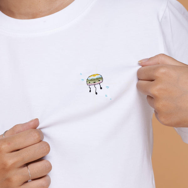 Jelly Fish Embroidered T-Shirt