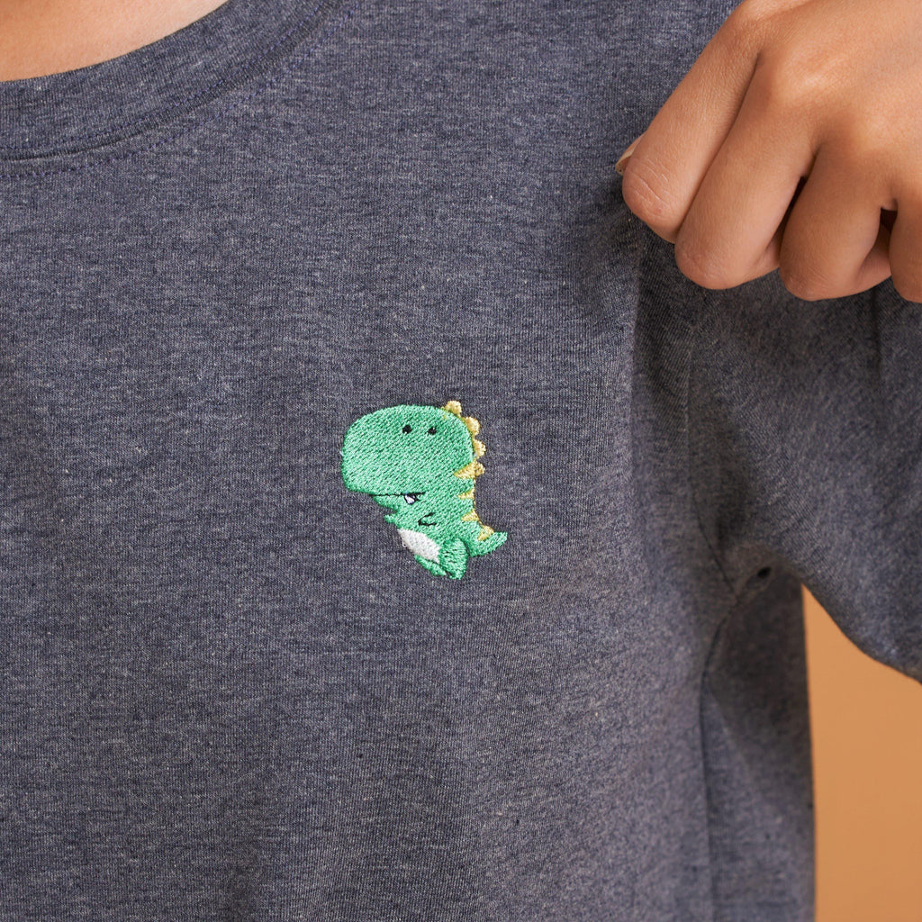 T-rex Dinosaur Embroidered T-Shirt