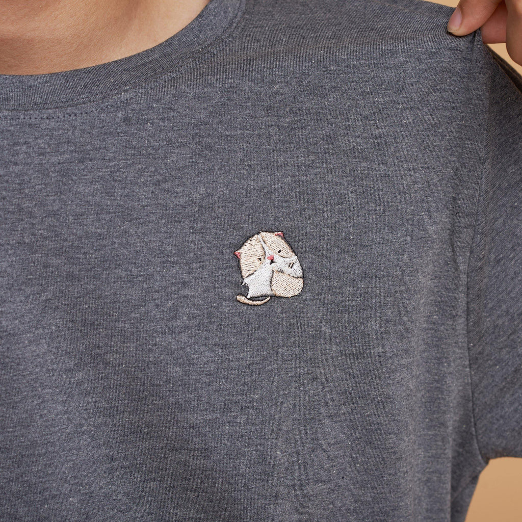 Cream Cat Embroidered T-Shirt