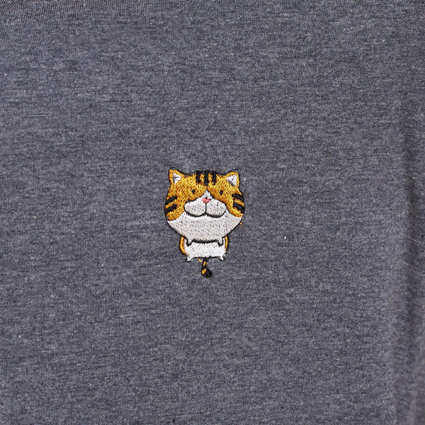 Orange Tabby Cat Embroidered T-Shirt