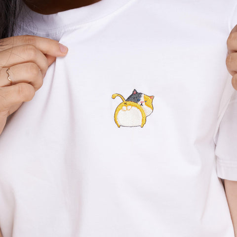 Calico Cat Embroidered T-Shirt
