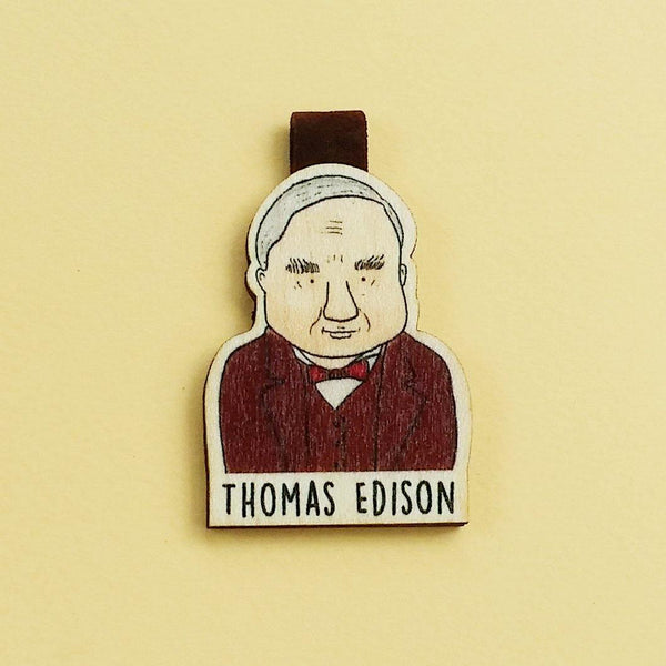Thomas Edison Magnetic Wooden Bookmark - BO016