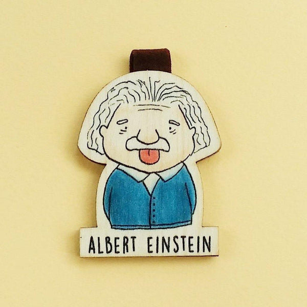 Albert Einstein Magnetic Wooden Bookmark - BO001