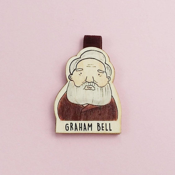 Graham Bell Magnetic Wooden Bookmark - BO008
