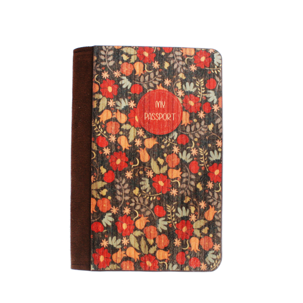 PC011 - Handmade Wooden Passport Cover - Vintage Floral Black