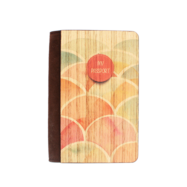 PC013 - Handmade Wooden Passport Cover - Japanese Waves