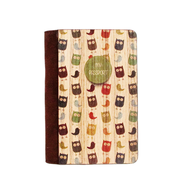 PC014 - Owl Wooden Passport Cover - Little Owl Passport Holder For Travel