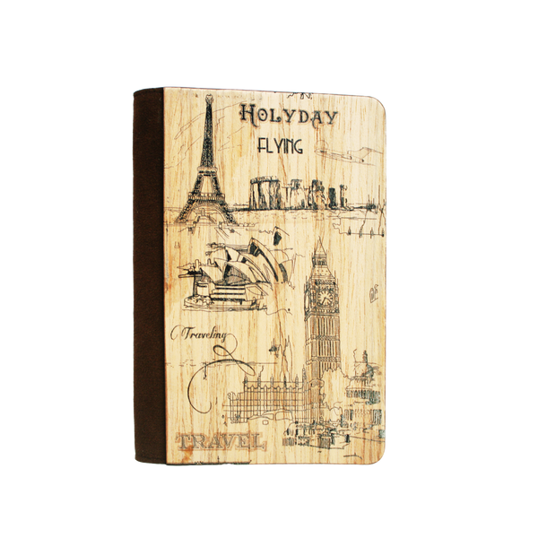 PC019 - Handmade Wooden Passport Cover -  Wonders of The World