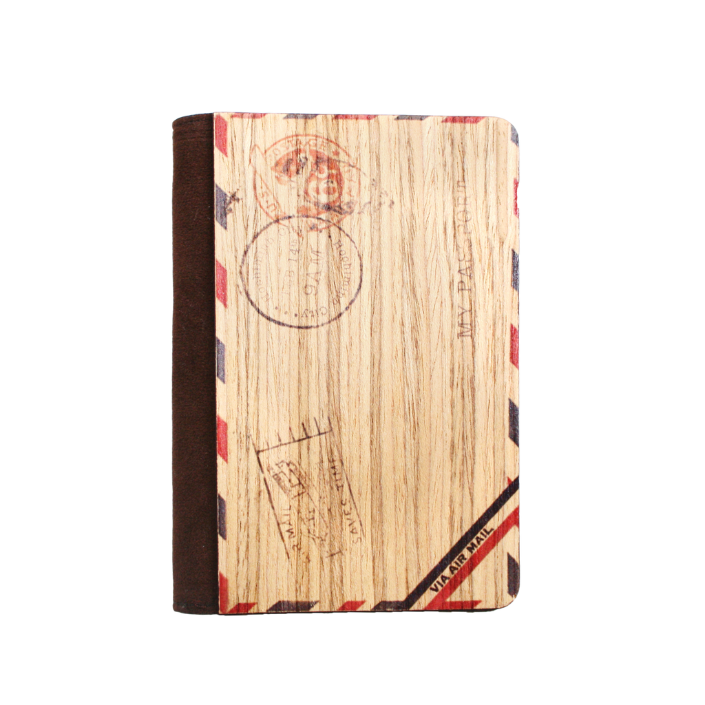 PC021 - Handmade Wooden Passport Cover - Vintage Envelope