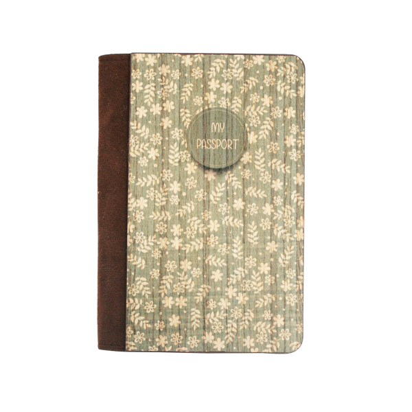 PC012 - Handmade Wooden Passport Cover - Vintage Floral Green