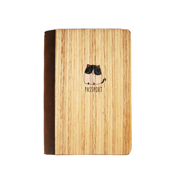 PC025 - Cat Wooden Passport Cover - Munchkin Cat Travel Accessory