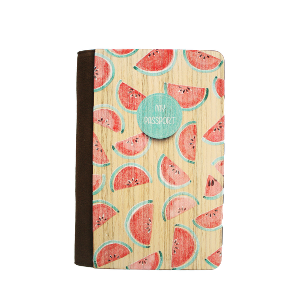 PC016 - Handmade Wooden Passport Cover - Watermelon