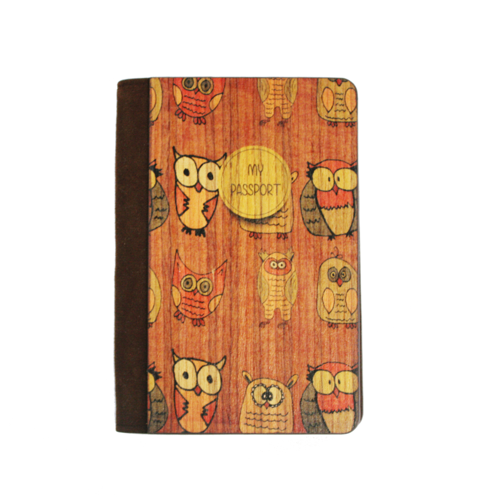 PC015 - Handmade Wooden Passport Cover - Owl Orange