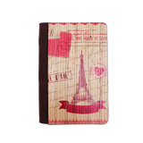 PC017 - Handmade Wooden Passport Cover - Pink Eiffel Tower