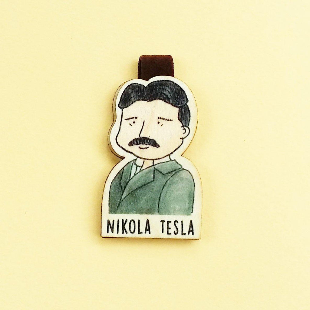 Nikola Tesla Magnetic Wooden Bookmark - BO013