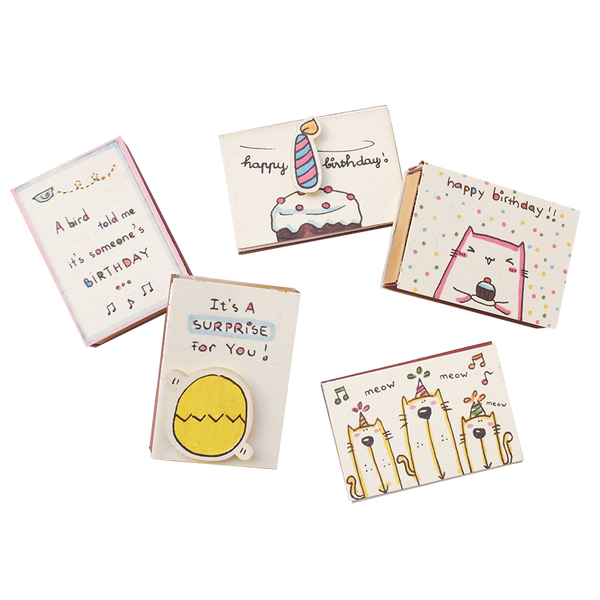 SE008 - Set of 5 Birthday Matchboxes - Birthday Matchbox-Card Set