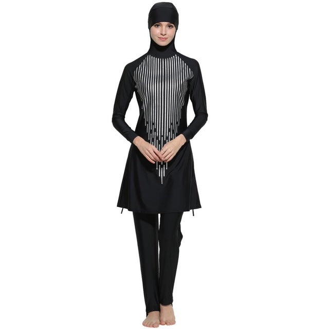Black Printed Burkini