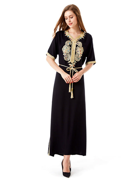 Black Abaya With Turkish Ethnic Style