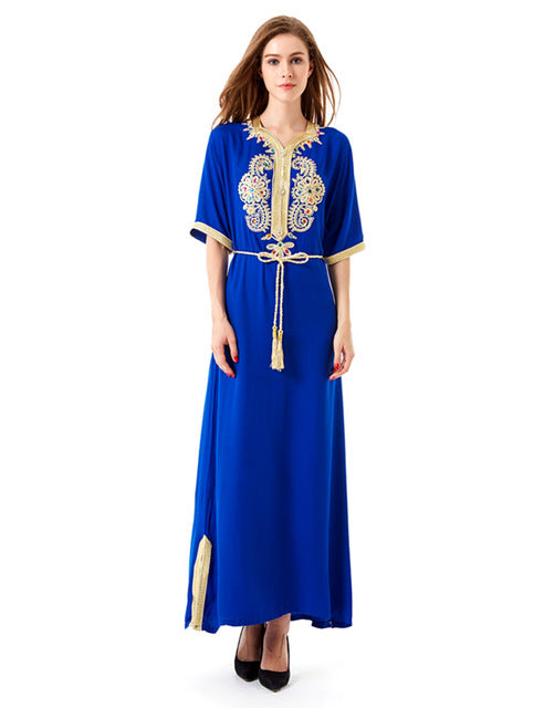 Blue Abaya With Turkish Ethnic Style