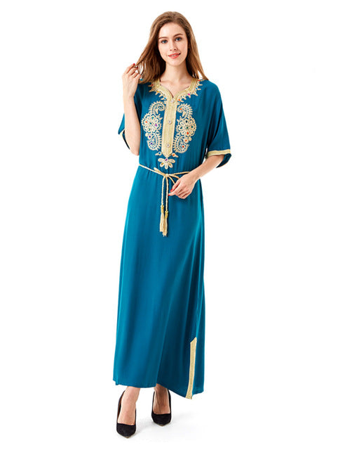 Green Abaya With Turkish Ethnic Style