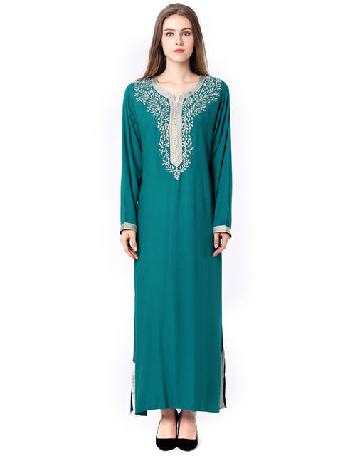 Green Abaya With Tree Design