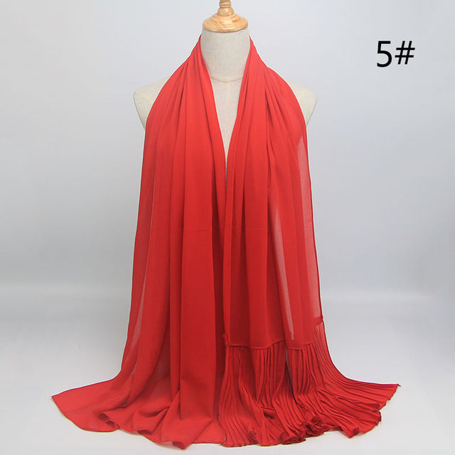 Red Wrinkle Chiffon Hijab