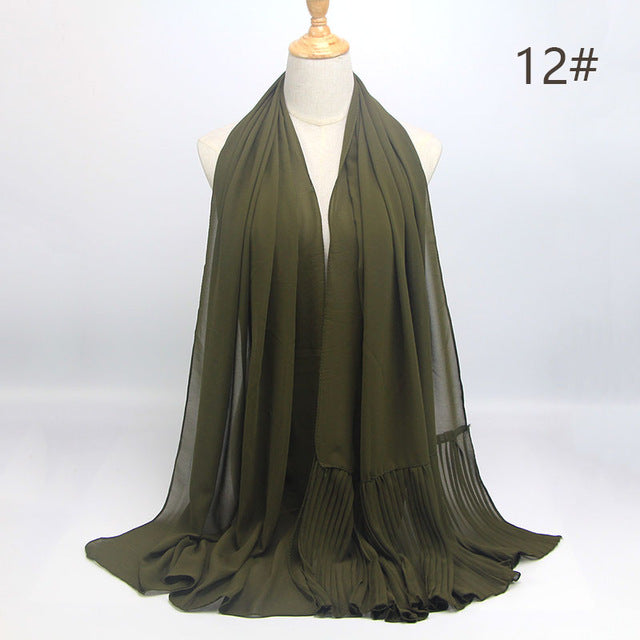 Army Green Wrinkle Chiffon Hijab