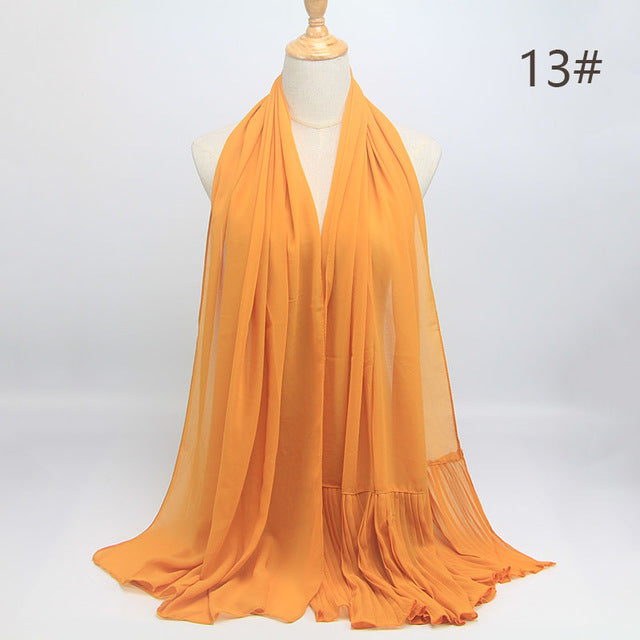 Yellow Wrinkle Chiffon Hijab