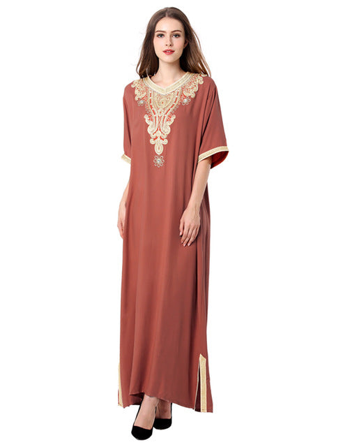 Light Brown Abaya With Arabic Ethnic Design