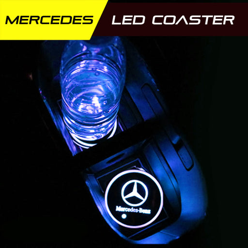 2 Pcs Mercedes Benz Smart LED Luminous Coaster