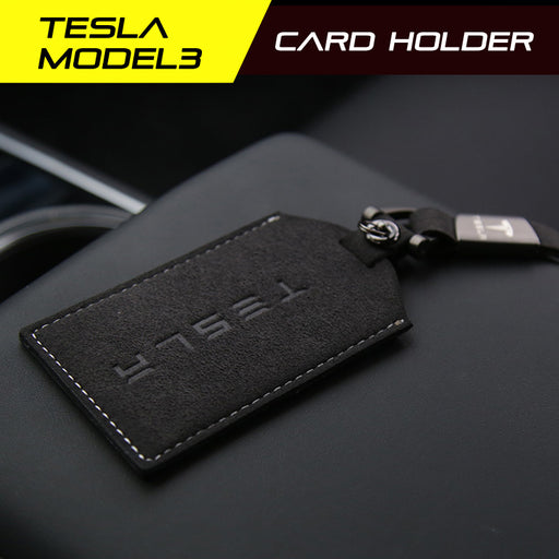 Premium Alcantara Tesla Model 3 Key Card Holder Keychain