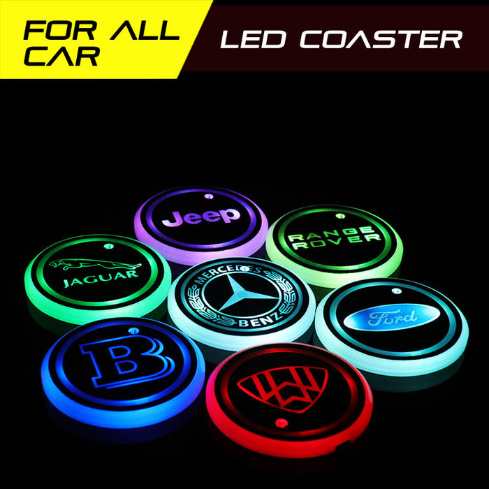 2pcs Smart LED Luminous Coaster LED Car Cup Holder Lights