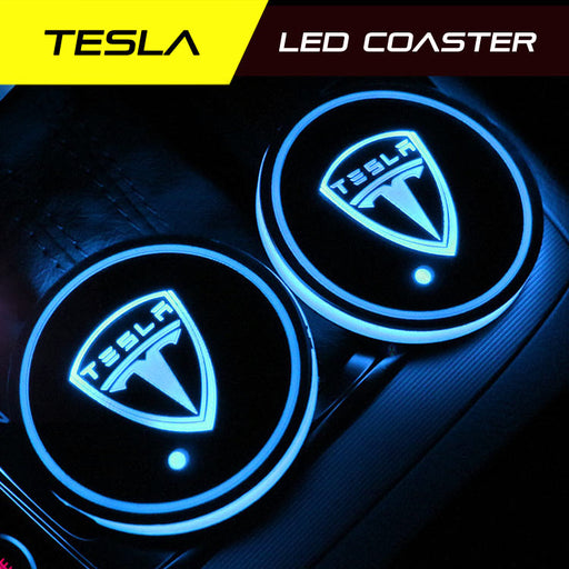 2 Pcs TESLA Smart LED Coaster Model 3 /X / S