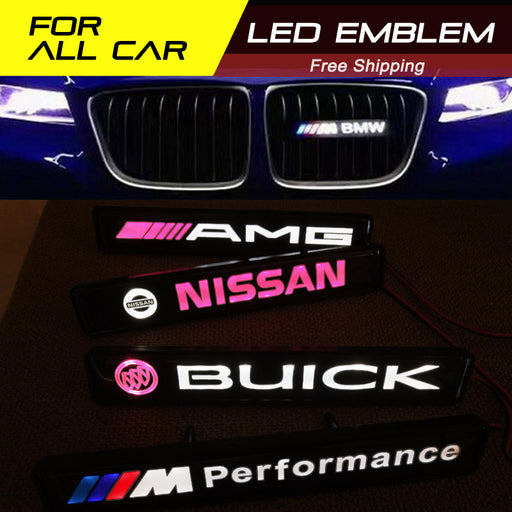 LED Light Emblem Front Grille Badge Fit For All Car