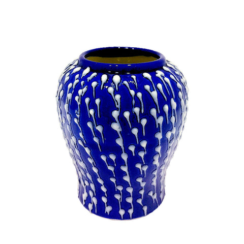 Blue with White Drops Mini Porcelain Vase