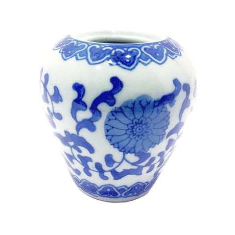 Blue & White Floral Painting Mini Porcelain Vase