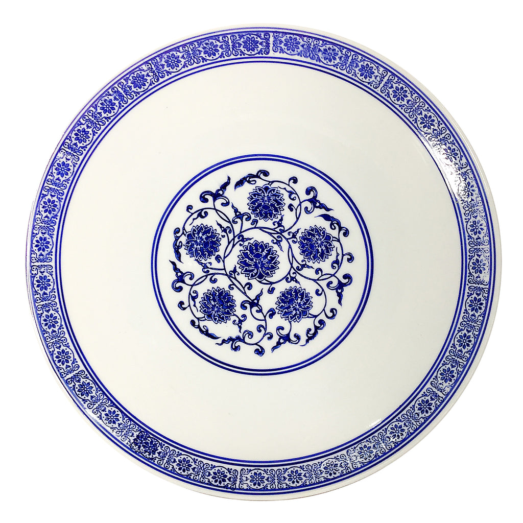 Blue & White Floral Paiting Porcelain Plate