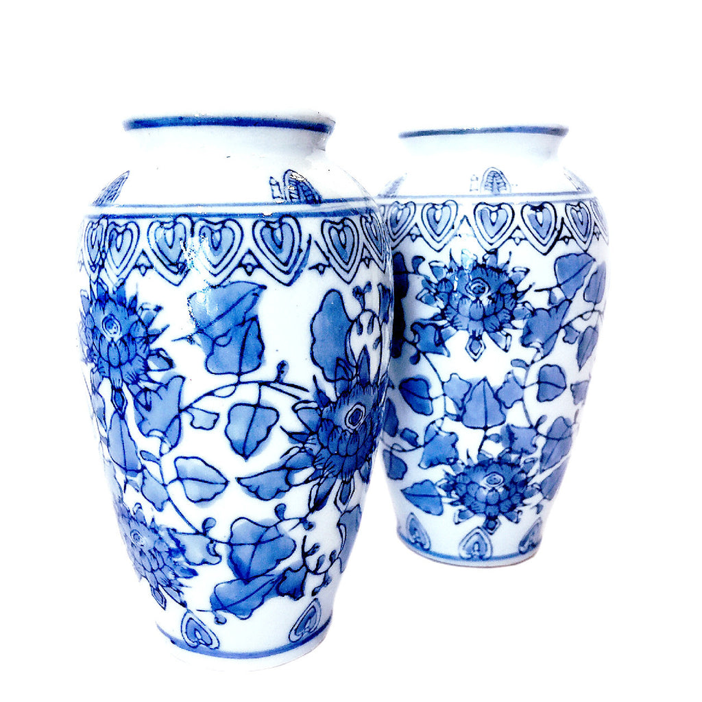 Blue & White Floral Painting Porcelain Mini Vase