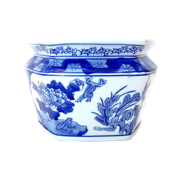 Blue & White Chinese Painting Porcelain Wall Flower Pot