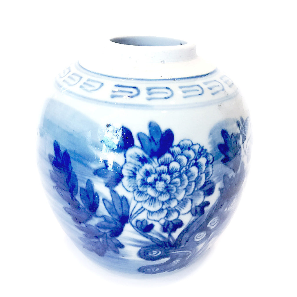 Blue & White Floral Painting Round Porcelain Vase