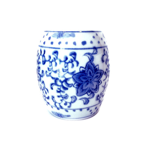 Blue & White Floral Painting Porcelain Mini Pot