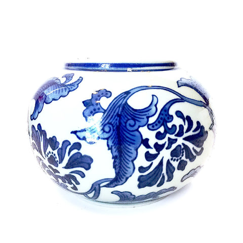Blue & White Floral Painting Porcelain Round Pot